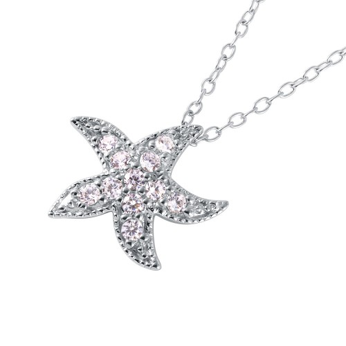 Wholesale Sterling Silver 925 Rhodium Plated CZ Starfish Pendant Necklace - BGP01039