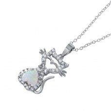 Wholesale Sterling Silver 925 Rhodium Plated Heart Opal Kitty Pendant Necklace - BGP01042