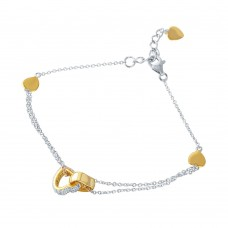 Wholesale Sterling Silver 925 Rhodium Plated CZ Gold Hearts Charm Bracelet - STB00519