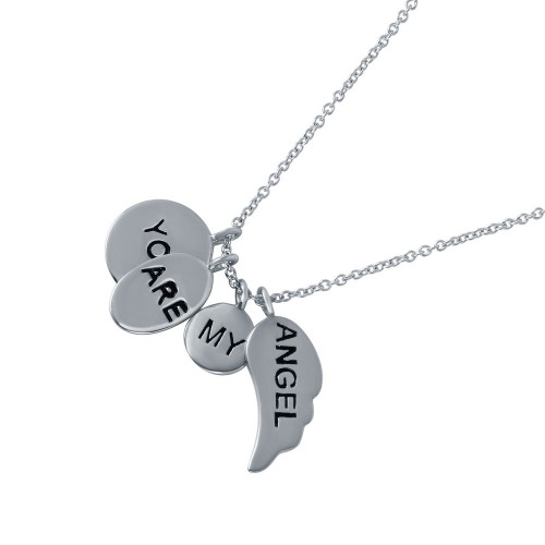 Wholesale Sterling Silver 925 Rhodium Plated 'You Are My Angel' Charm Necklace - STP01490