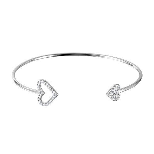 Wholesale Sterling Silver 925 Rhodium Plated CZ Open and Closed Heart Cuff Bracelet - BGB00255