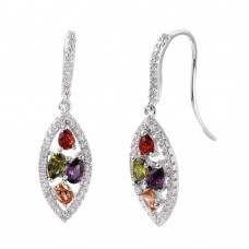 Wholesale Sterling Silver 925 Rhodium Plated Marquise-Shaped Multi-Color CZ Earrings - BGE00460