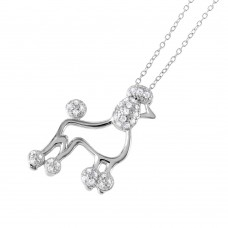 Wholesale Sterling Silver 925 Rhodium Plated CZ French Poodle Charm Necklace - BGP01036