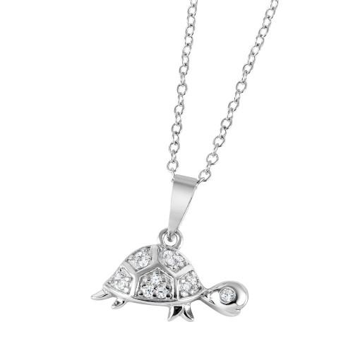 Wholesale Sterling Silver 925 Rhodium Plated CZ Turtle Charm Necklace - BGP01038