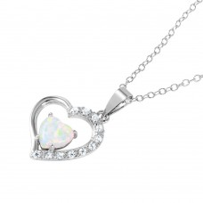 Wholesale Sterling Silver 925 Rhodium Plated CZ Open Heart with Heart-shaped Opal Necklace - BGP01043