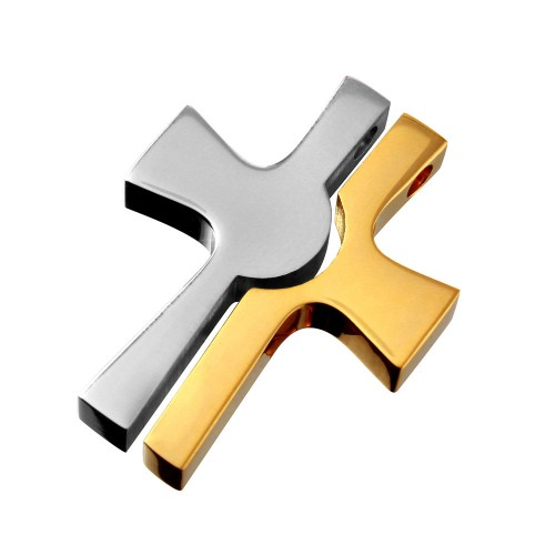 Wholesale Stainless Steel Two-toned Cross Pendant - SSP00061