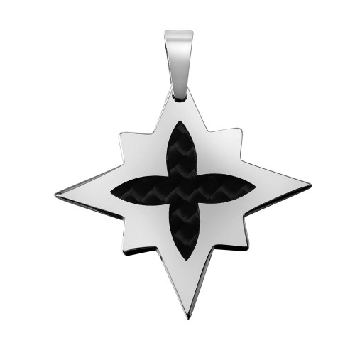 Wholesale Stainless Steel and Carbon Fiber Multidimensional Star Shaped Pendant - SSP00088