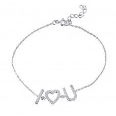 Wholesale Sterling Silver 925 Rhodium Plated CZ 'I [heart] U' Bracelet - STB00521