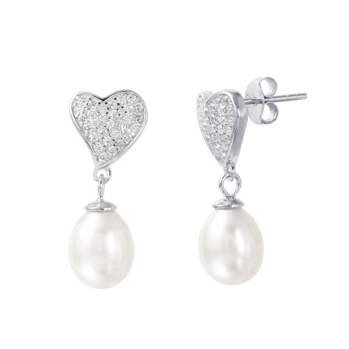 Wholesale Sterling Silver 925 Rhodium Plated Heart Synthetic Pearl Pave CZ Dangling Stud Earrings - STE01003