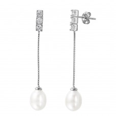 Wholesale Sterling Silver 925 Rhodium Plated Chain Pearl CZ Dangling Stud Earrings - STE01004