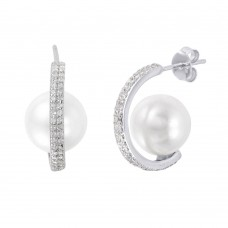 Wholesale Sterling Silver 925 Rhodium Plated C-Curved Pearl CZ Stud Earrings - STE01005