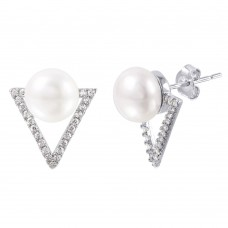 Wholesale Sterling Silver 925 Rhodium Plated Open Triangle Fresh Water Pearl CZ Stud Earrings - STE01006