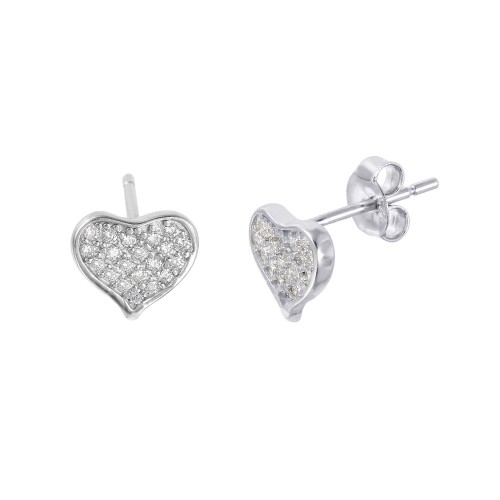 Wholesale Sterling Silver 925 Rhodium Plated Heart-shaped Pave CZ Stud Earrings - STE01009