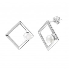 Wholesale Sterling Silver 925 Rhodium Plated Open Square Fresh Water Pearl Stud Earrings - STE01001