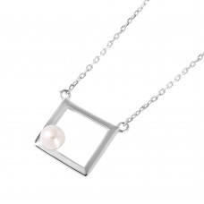 Wholesale Sterling Silver 925 Rhodium Plated Open Square Fresh Water Pearl Necklace - STP01491