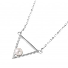 Wholesale Sterling Silver 925 Rhodium Plated Open Triangle Fresh Water Pearl Necklace - STP01492