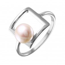 Sterling Silver Rhodium Plated Open Square Synthetic Pearl Ring - STR01038