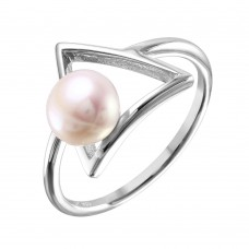 Sterling Silver Rhodium Plated Open Triangle Fresh Water Pearl Ring - STR01039