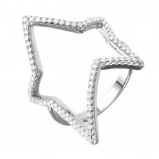 Wholesale Sterling Silver 925 Rhodium Plated Wide Open Star Ring - STR01042
