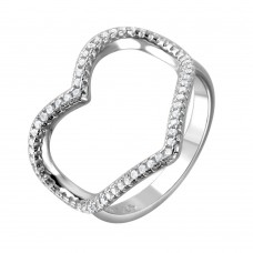Wholesale Sterling Silver 925 Rhodium Plated Wide Open Heart Ring - STR01043