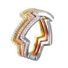 Wholesale Sterling Silver 925 Multi-Plated Three Piece Zig-Zag Stackable CZ Ring - STR01040TRI