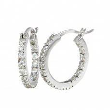 Wholesale Sterling Silver 925 Rhodium Plated 18mm Hoop Earrings - AAE00001-18MM