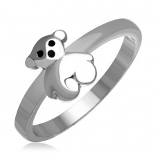 Sterling Silver Rhodium Plated Teddy Bear Ring - AAR0021