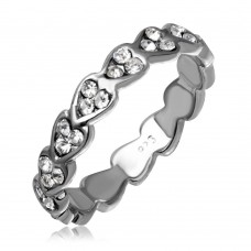 Wholesale Sterling Silver 925  Rhodium Plated Mini Heart Shaped Eternity Ring with CZ - AAR0008