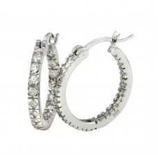 Wholesale Sterling Silver 925 Rhodium Plated 20mm Hoop Earrings - AAE00001-20MM