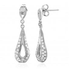 Wholesale Sterling Silver 925 Rhodium Plated Dangling Open Teardrop Earrings with CZ - ACE00034