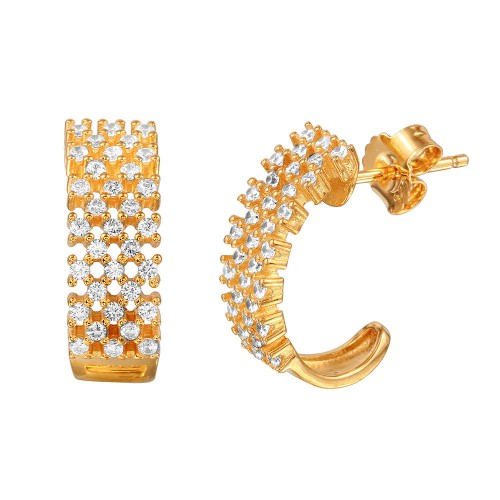 Wholesale Sterling Silver 925 Gold Plated Checkered CZ Semi-Huggie Earrings - ACE00082GP