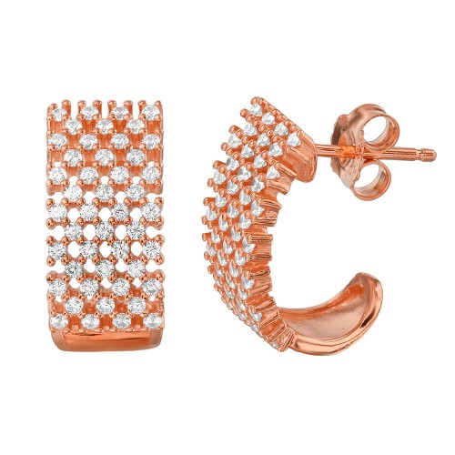Wholesale Sterling Silver 925 Rose Gold Plated Thick Checkered CZ Semi-Huggie Earrings - ACE00083RGP