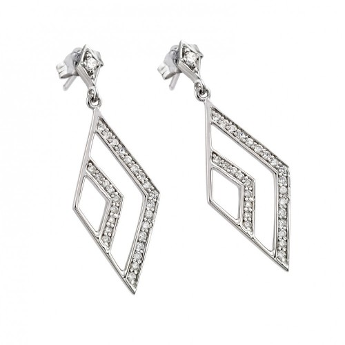 Wholesale Sterling Silver 925 Rhodium Plated Micro Pave Clear Open Marquis CZ Dangling Stud Earrings - ACE00029