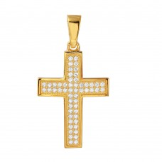 Sterling Silver Gold Plated Cross Inlay Micro Pave CZ Cross Pendant - ACP00069GP