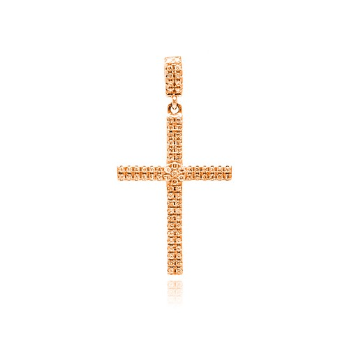 Wholesale Sterling Silver 925 Rose Gold Plated Cross Micro Pave CZ Dangling Pendant - ACP00080RGP