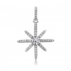 Wholesale Sterling Silver 925 Rhodium Plated CZ Shining Star Pendant - ACP00092RH