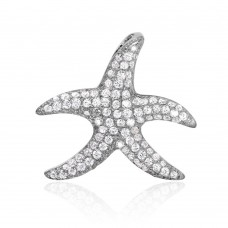 Wholesale Sterling Silver 925 Rhodium Plated Starfish CZ Pendant - ACP00096RH