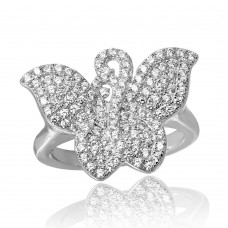 Sterling Silver Rhodium Plated Butterfly covered with CZ - ACR00047