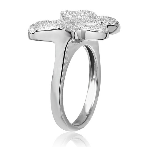Wholesale Sterling Silver 925 Rhodium Plated Butterfly Covered With CZ - ACR00047
