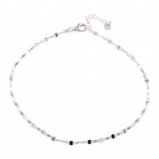 Wholesale Sterling Silver 925 Rhodium Plated Oval Chain Anklet - ARA00001RH