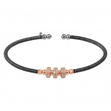 Wholesale Sterling Silver 925 Black Rhodium Plated Cuff with Rose Gold Beads and CZ - ARB00001BLK