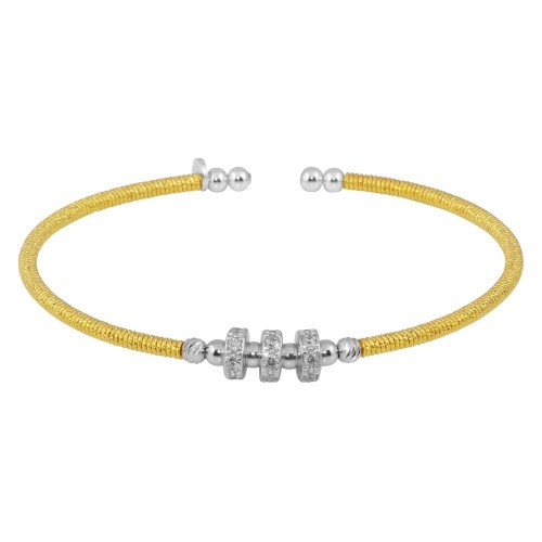 Wholesale Sterling Silver 925 Gold Plated Beaded Cuffs with CZ - ARB00001GP