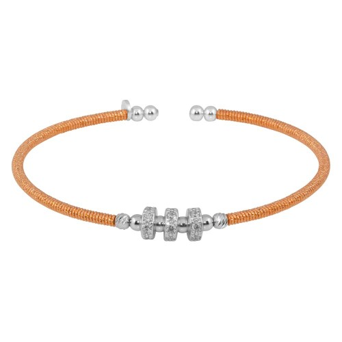 Wholesale Sterling Silver 925 Rose Gold Plated Beaded Cuff with CZ - ARB00001RGP