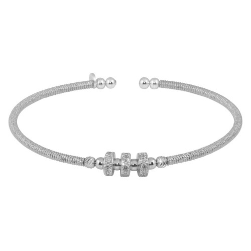 Wholesale Sterling Silver 925 Rhodium Plated Beaded Open Bangle with CZ - ARB00001RH