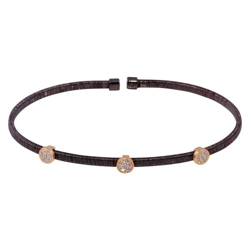 Wholesale Sterling Silver 925 Black Rhodium Plated Three Rose Gold Circle Open Bangle with CZ - ARB00005BLK
