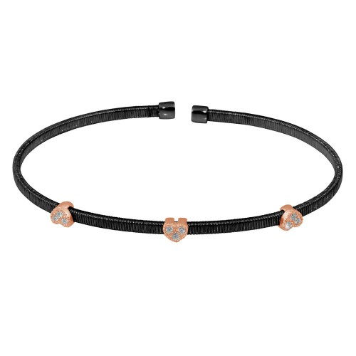 Wholesale Sterling Silver 925 Black Rhodium Plated Three Rose Gold Heart Open Bangle with CZ - ARB00006BLK