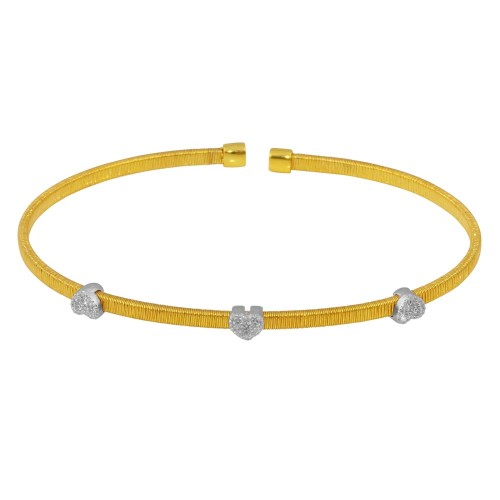 Wholesale Sterling Silver 925 Gold Plated Three Heart Open Bangle with CZ - ARB00006GP