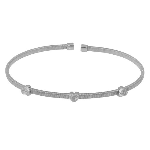 Wholesale Sterling Silver 925 Rhodium Plated Three Heart Open Bangle with CZ - ARB00006RH