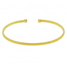 Wholesale Sterling Silver 925 Gold Plated Open Flat Bangle - ARB00007GP