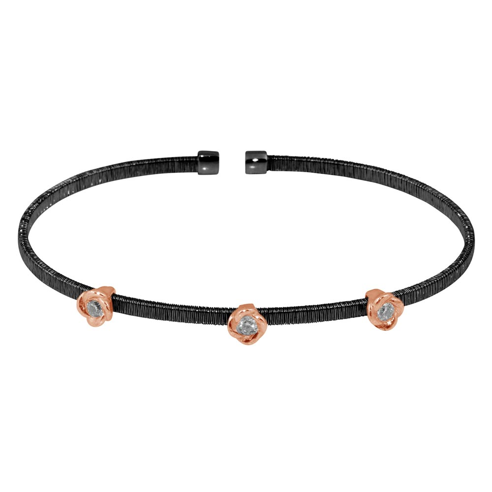 Wholesale Sterling Silver 925 Black Rhodium Plated Three Rose Gold Rose Cuffs with CZ - ARB00008BLK
